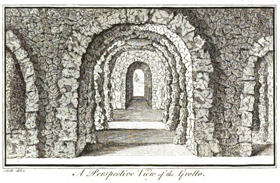 Pope's Grotto in Twickenham, drawn by John Searle, 1745